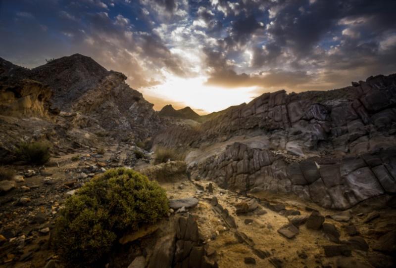 Salida del Sol en el desierto de Tabernas