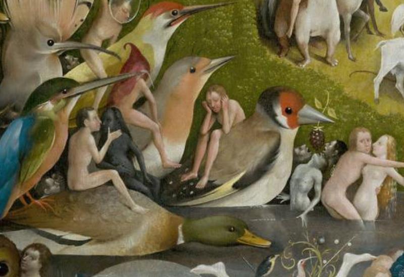 Pájaros en la tabla central del Jardín de las Delicias