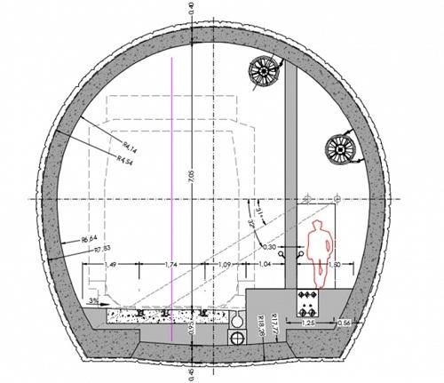 Sección tipo del túnel de Brión.
