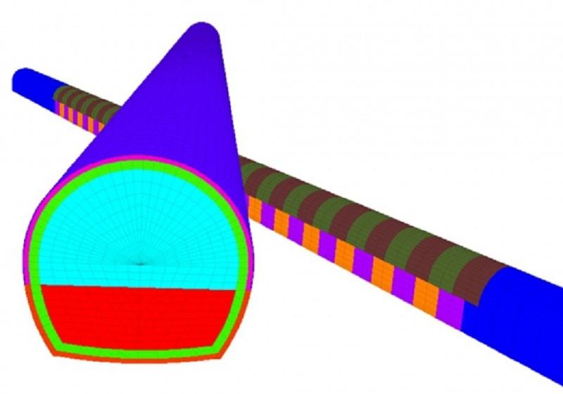 Modelo FLAC3D. Disposición de módulos de hormigonado en túnel de La Graña.
